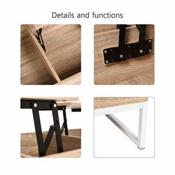 ease Couchtisch mit Höhenverstellbar Wohnzimmertisch Funktionaler Design Couchtisch mit Stauraum und Ablage für Büro, Küche, Wohnzimmer - 4