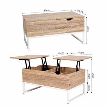 ease Couchtisch mit Höhenverstellbar Wohnzimmertisch Funktionaler Design Couchtisch mit Stauraum und Ablage für Büro, Küche, Wohnzimmer - 5