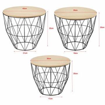[en.casa] Beistelltisch 3er Set Couchtisch in 3 Größen Sofatisch aus Metall Kaffetisch mit abnehmbaren Deckeln Tablettisch Rund Wohnzimmertisch mit Stauraum Metallkörbe Schwarz/Holz - 3