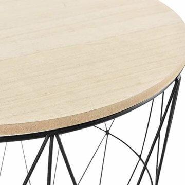 [en.casa] Beistelltisch 3er Set Couchtisch in 3 Größen Sofatisch aus Metall Kaffetisch mit abnehmbaren Deckeln Tablettisch Rund Wohnzimmertisch mit Stauraum Metallkörbe Schwarz/Holz - 6