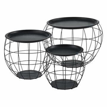 [en.casa] Beistelltisch 3er Set Couchtisch in 3 Größen Sofatisch aus Metall Kaffetisch mit abnehmbaren Metalldeckeln Tablettisch Wohnzimmertisch mit Stauraum Metallkörbe Schwarz - 1