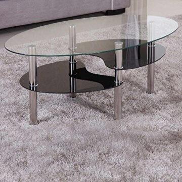 Euro Tische Couchtisch Glas mit 8mm Sicherheitsglas & Facettenschliff - Glastisch perfekt geeignet als Beistelltisch/Wohnzimmertisch (98x58x42cm, Klar/Schwarz) - 1