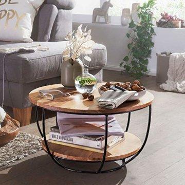 FineBuy Couchtisch 60x34,5x60 cm Akazie Massivholz/Metall Sofatisch | Design Wohnzimmertisch Rund | Stubentisch Industrial Braun | Tisch mit Ablage - 2