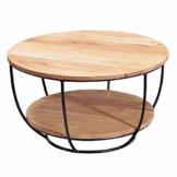 FineBuy Couchtisch 60x34,5x60 cm Akazie Massivholz/Metall Sofatisch | Design Wohnzimmertisch Rund | Stubentisch Industrial Braun | Tisch mit Ablage - 1