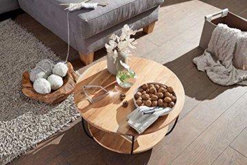 FineBuy Couchtisch 60x34,5x60 cm Akazie Massivholz/Metall Sofatisch   Design Wohnzimmertisch Rund   Stubentisch Industrial Braun   Tisch mit Ablage - 3