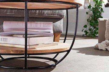 FineBuy Couchtisch 60x34,5x60 cm Akazie Massivholz/Metall Sofatisch | Design Wohnzimmertisch Rund | Stubentisch Industrial Braun | Tisch mit Ablage - 4