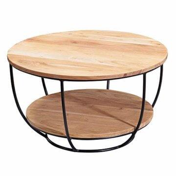 FineBuy Couchtisch 60x34,5x60 cm Akazie Massivholz/Metall Sofatisch   Design Wohnzimmertisch Rund   Stubentisch Industrial Braun   Tisch mit Ablage - 1