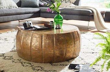 FineBuy Couchtisch JAMALI 72x31x72cm Aluminium Beistelltisch Gold orientalisch rund | Flacher Sofatisch Metall | Design Wohnzimmertisch modern | Loungetisch Stubentisch klein - 2