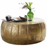 FineBuy Couchtisch JAMALI 72x31x72cm Aluminium Beistelltisch Gold orientalisch rund | Flacher Sofatisch Metall | Design Wohnzimmertisch modern | Loungetisch Stubentisch klein - 1