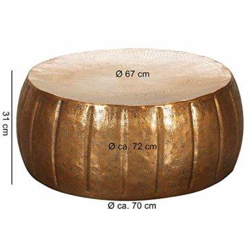 FineBuy Couchtisch JAMALI 72x31x72cm Aluminium Beistelltisch Gold orientalisch rund | Flacher Sofatisch Metall | Design Wohnzimmertisch modern | Loungetisch Stubentisch klein - 3