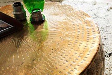 FineBuy Couchtisch JAMALI 72x31x72cm Aluminium Beistelltisch Gold orientalisch rund | Flacher Sofatisch Metall | Design Wohnzimmertisch modern | Loungetisch Stubentisch klein - 5
