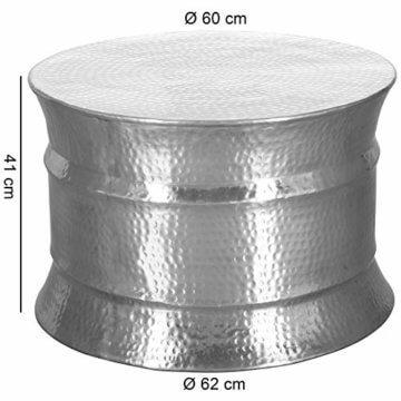 FineBuy Couchtisch KAREM 62x41x62cm Aluminium Silber Beistelltisch orientalisch rund | Flacher Hammerschlag Sofatisch Metall | Design Wohnzimmertisch modern | Loungetisch indisch Stubentisch klein - 3