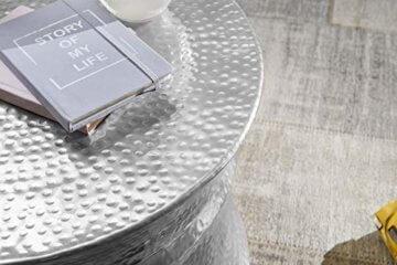 FineBuy Couchtisch KAREM 62x41x62cm Aluminium Silber Beistelltisch orientalisch rund | Flacher Hammerschlag Sofatisch Metall | Design Wohnzimmertisch modern | Loungetisch indisch Stubentisch klein - 4