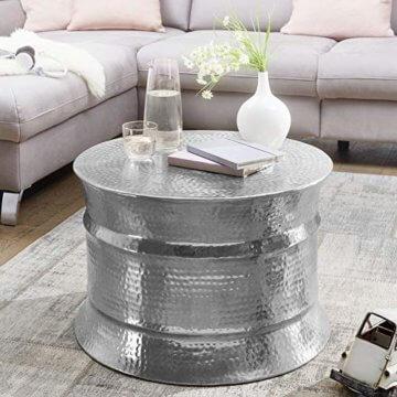 FineBuy Couchtisch KAREM 62x41x62cm Aluminium Silber Beistelltisch orientalisch rund   Flacher Hammerschlag Sofatisch Metall   Design Wohnzimmertisch modern   Loungetisch indisch Stubentisch klein - 1