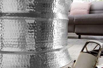 FineBuy Couchtisch KAREM 62x41x62cm Aluminium Silber Beistelltisch orientalisch rund | Flacher Hammerschlag Sofatisch Metall | Design Wohnzimmertisch modern | Loungetisch indisch Stubentisch klein - 5