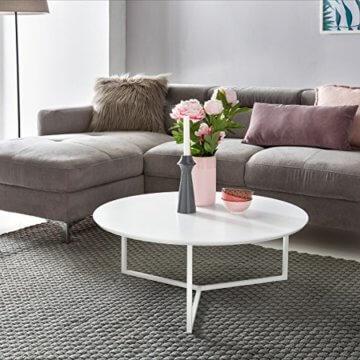FineBuy Design Couchtisch White 80 cm Rund Weiß Matt lackiert | Moderner Wohnzimmertisch MDF Holz | Lounge Sofa Tisch Metall Gestell - 2