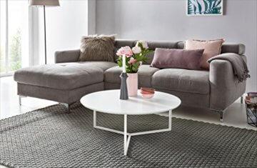 FineBuy Design Couchtisch White 80 cm Rund Weiß Matt lackiert | Moderner Wohnzimmertisch MDF Holz | Lounge Sofa Tisch Metall Gestell - 4