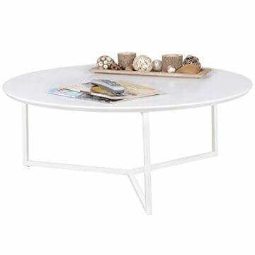 FineBuy Design Couchtisch White 80 cm Rund Weiß Matt lackiert | Moderner Wohnzimmertisch MDF Holz | Lounge Sofa Tisch Metall Gestell - 1