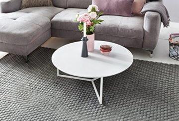 FineBuy Design Couchtisch White 80 cm Rund Weiß Matt lackiert   Moderner Wohnzimmertisch MDF Holz   Lounge Sofa Tisch Metall Gestell - 5