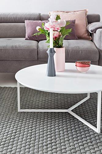 FineBuy Design Couchtisch White 80 cm Rund Weiß Matt lackiert | Moderner Wohnzimmertisch MDF Holz | Lounge Sofa Tisch Metall Gestell - 6