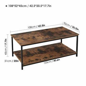 Homfa Couchtisch Wohnzimmertisch Sofatischmit Ablage Metallgestell Holz Stabil Vintage Schwarz - 2