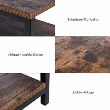 Homfa Couchtisch Wohnzimmertisch Sofatischmit Ablage Metallgestell Holz Stabil Vintage Schwarz - 4
