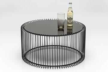 KARE Design Couchtisch Wire Black 2er Set, runder, moderner Glastisch, großer Beistelltisch, Kaffeetisch, Nachttisch, Schwarz (H/B/T) 30,5xØ60cm & 33,5xØ69,5cm - 2