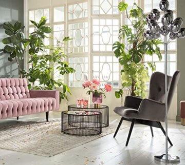 KARE Design Couchtisch Wire Black 2er Set, runder, moderner Glastisch, großer Beistelltisch, Kaffeetisch, Nachttisch, Schwarz (H/B/T) 30,5xØ60cm & 33,5xØ69,5cm - 3