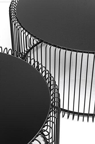 KARE Design Couchtisch Wire Black 2er Set, runder, moderner Glastisch, großer Beistelltisch, Kaffeetisch, Nachttisch, Schwarz (H/B/T) 30,5xØ60cm & 33,5xØ69,5cm - 4