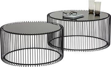 KARE Design Couchtisch Wire Black 2er Set, runder, moderner Glastisch, großer Beistelltisch, Kaffeetisch, Nachttisch, Schwarz (H/B/T) 30,5xØ60cm & 33,5xØ69,5cm - 1