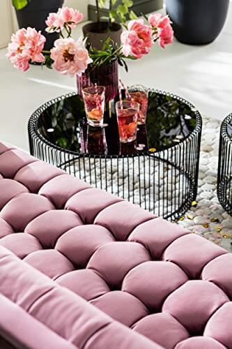 KARE Design Couchtisch Wire Black 2er Set, runder, moderner Glastisch, großer Beistelltisch, Kaffeetisch, Nachttisch, Schwarz (H/B/T) 30,5xØ60cm & 33,5xØ69,5cm - 5