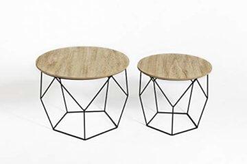 LIFA LIVING 2er Set Couchtische rund aus schwarzem Metall und MDF-Holz, 2 Geometrische Beistelltische im Vintage-Stil mit Korbfunktion, bis zu 20 kg Belastbarkeit - 2