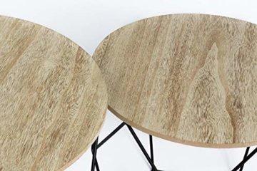 LIFA LIVING 2er Set Couchtische rund aus schwarzem Metall und MDF-Holz, 2 Geometrische Beistelltische im Vintage-Stil mit Korbfunktion, bis zu 20 kg Belastbarkeit - 3