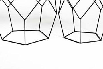 LIFA LIVING 2er Set Couchtische rund aus schwarzem Metall und MDF-Holz, 2 Geometrische Beistelltische im Vintage-Stil mit Korbfunktion, bis zu 20 kg Belastbarkeit - 4