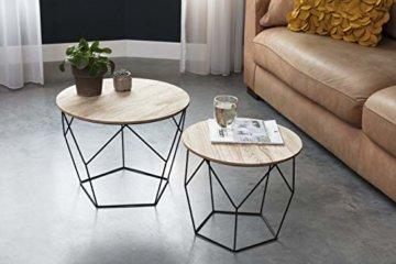 LIFA LIVING 2er Set Couchtische rund aus schwarzem Metall und MDF-Holz, 2 Geometrische Beistelltische im Vintage-Stil mit Korbfunktion, bis zu 20 kg Belastbarkeit - 5