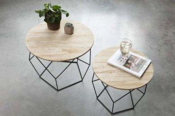 LIFA LIVING 2er Set Couchtische rund aus schwarzem Metall und MDF-Holz, 2 Geometrische Beistelltische im Vintage-Stil mit Korbfunktion, bis zu 20 kg Belastbarkeit - 6
