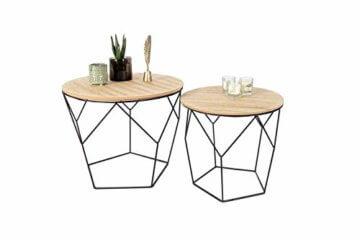 LIFA LIVING 2er Set Couchtische rund aus schwarzem Metall und MDF-Holz, 2 Geometrische Beistelltische im Vintage-Stil mit Korbfunktion, bis zu 20 kg Belastbarkeit - 7