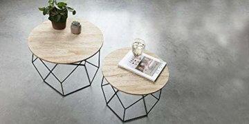 LIFA LIVING 2er Set Couchtische rund aus schwarzem Metall und MDF-Holz, 2 Geometrische Beistelltische im Vintage-Stil mit Korbfunktion, bis zu 20 kg Belastbarkeit - 8