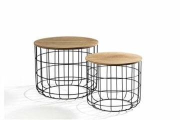 LIFA LIVING Runde Couchtische im 2er Set, 2 Beistelltische aus schwarzem Metall und MDF-Holz, Vintage-Stil & Industrie-Stil mit Korbfunktion, bis zu 20kg Belastbarkeit, Ø 40 x 36 cm, Ø 50 x 40 cm - 2