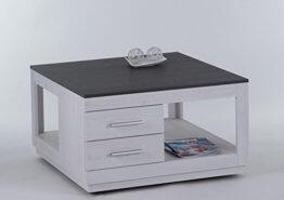 lifestyle4living Couchtisch in Sibiu-Lärche-Nachbildung, Wohnzimmertisch auf Rollen mit 2 Schubladen, moderner Sofatisch mit Tischplatte in Touchwood - 1