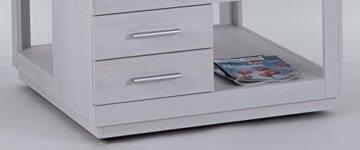 lifestyle4living Couchtisch in Sibiu-Lärche-Nachbildung, Wohnzimmertisch auf Rollen mit 2 Schubladen, moderner Sofatisch mit Tischplatte in Touchwood - 4