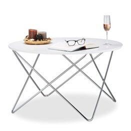 Relaxdays Beistelltisch rund, Couchtisch Holz mit geschwungenen Metallbeinen, Wohnzimmertisch groß, HxBxT: 50x90x90 cm, weiß - 1