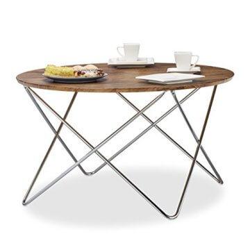 Relaxdays Beistelltisch rund, Couchtisch Vintage Look Holz, Metallgestell, Wohnzimmertisch klein, flach, HxBxT: 50x90x90 cm, natur - 2