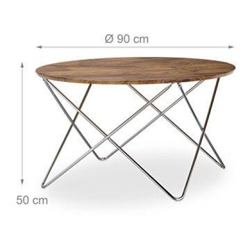 Relaxdays Beistelltisch rund, Couchtisch Vintage Look Holz, Metallgestell, Wohnzimmertisch klein, flach, HxBxT: 50x90x90 cm, natur - 3