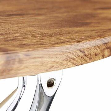 Relaxdays Beistelltisch rund, Couchtisch Vintage Look Holz, Metallgestell, Wohnzimmertisch klein, flach, HxBxT: 50x90x90 cm, natur - 4