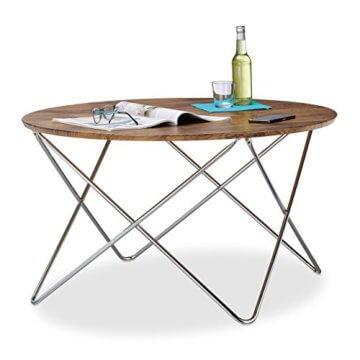 Relaxdays Beistelltisch rund, Couchtisch Vintage Look Holz, Metallgestell, Wohnzimmertisch klein, flach, HxBxT: 50x90x90 cm, natur - 1