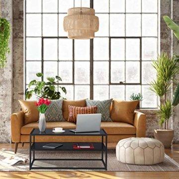 Relaxdays Couchtisch Glas, 2 Ablagen, Metall & Glasplatte, Sofatisch für Wohnzimmer, HxBxT: ca. 42 x 90 x 50 cm, schwarz, Metall, MDF - 2