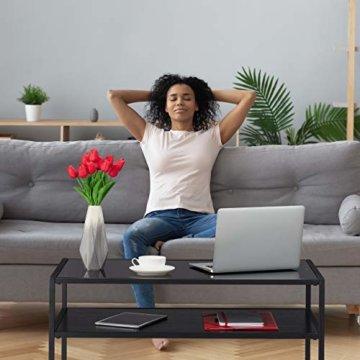Relaxdays Couchtisch Glas, 2 Ablagen, Metall & Glasplatte, Sofatisch für Wohnzimmer, HxBxT: ca. 42 x 90 x 50 cm, schwarz, Metall, MDF - 3