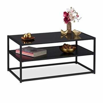 Relaxdays Couchtisch Glas, 2 Ablagen, Metall & Glasplatte, Sofatisch für Wohnzimmer, HxBxT: ca. 42 x 90 x 50 cm, schwarz, Metall, MDF - 1