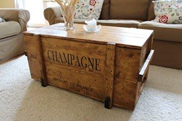 Uncle Joe´s Truhe Holzkiste Champagne, 85 x 45 x 46 cm, Holz, Hellbraun, Vintage, Shabby chic Couchtisch, braun, 85x45x46 cm - 2